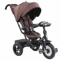 Велосипед с поворотным сиденьем, надувные колеса, MINI TRIKE ДЖИНС коричневый