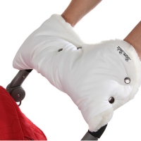 BAMBOLA Муфта шерстяной мех+плащевка+ кнопки(лайт) Белая 153В