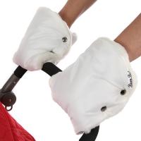 BAMBOLA Муфты-варежки шерстяной мех+плащевка (лайт) Белые 155В