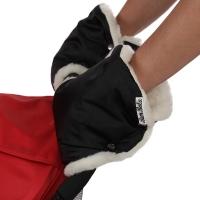BAMBOLA Муфты-варежки шерстяной мех+плащевка (лайт) Черные 155В