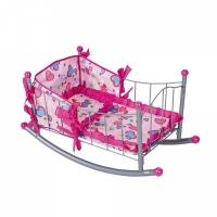 FEI LI TOYS Кукольная кроватка 64,5х32,5х36 см, розовый, FL989-3