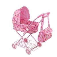 FEI LI TOYS Кукольная коляска с сумкой 42х35,5х66,5 см, розовый, FL8127