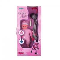FEI LI TOYS Кукольная коляска+кукла 37,5х30х62 см, розовый, FL8108-C