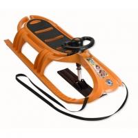 KHW Санки детские Snow Tiger de Luxe оранжевый (руль, лыжня) 21605