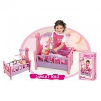 XIONG CHENG Игровой набор КРОВАТКА  для кукол с мобилем с игрушками 008-10