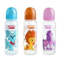 """Бутылочка с латексной соской """"Веселые животные"""", 250 мл, Lubby 13564"""