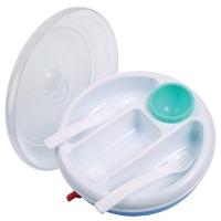 Набор посуды с подогревом: тарелка, ложка, вилка, 3 секц, Камера 10236