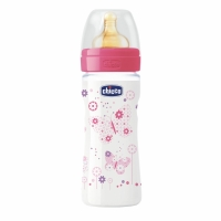 Бутылочка Well-Being Girl, 2 мес + лат. соска, 250 мл, CHICCO 310205006