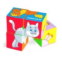 """Игрушка кубики """"Собери картинку"""" (Домашние животные) с тканевой перемычкой 209"""