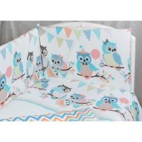 Бортик для кроватки Rabby Baby Совушки/бирюзовый 115904/3