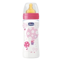 Бутылочка Well-Being Girl, 4 мес + лат. соска, 330 мл, CHICCO 310205010