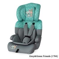 Автокресло Junior plus (от 9 до 36 кг) Серо-зеленый/ Grey&Green Friends 1704