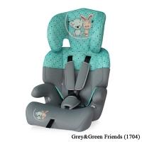 Автокресло Lorelli Junior (от 9 до 36 кг) Серо-зеленый/ Grey&Green Friends 1704