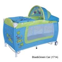 Кровать-манеж с функцией качания Lorelli Danny 2 Rocker Blue&Green Car 1714