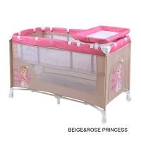 Кровать-манеж Lorelli Nanny 2 Бежево-розовый / Biege&Rose Princess 1703