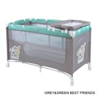 Кровать-манеж Lorelli Nanny 2 Серо-зеленый/ Grey&Green Friends 1704