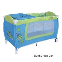 Кровать-манеж Lorelli Danny 2 Сине-зеленый / Blue&Green Car 1714
