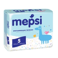 Пеленки детские впитывающие 60х60 см, 5 штук, Mepsi 48046