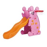 Горка МИККИ+баскет кольцо (173x80x121h), розовый, QIAOQIAO QQ516