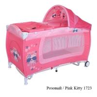 Кровать-манеж с функцией качания Lorelli Danny 2 Rocker Pink Kitty 1723