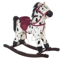 Качалка-лошадка плюшевая Pituso FANDANGO, музыка, Белый с пятнами GS2035