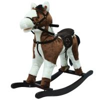 Качалка-лошадка плюшевая Pituso FANDANGO, музыка, Белый с коричневым GS2030
