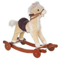 Качалка-ПОНИ с колесами плюшевая Pituso PANADERO, музыка, Бежевый GS1010W