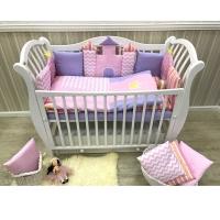 Комплект в кроватку GulSara 6 предметов ЗАМОК принт Розовый