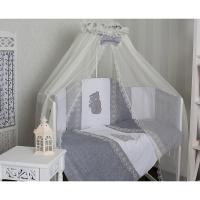 Комплект в кроватку с балдахином GulSara 6 предметов Бязь Серый