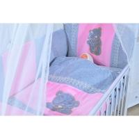 Комплект в кроватку с балдахином GulSara 6 предметов Бязь Розовый