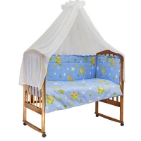 Комплект в кроватку 7 предметов BAMBOLA ГАМАЧКИ Голубой